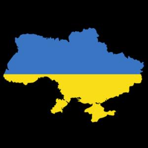 ukrainische Flagge und Wappen